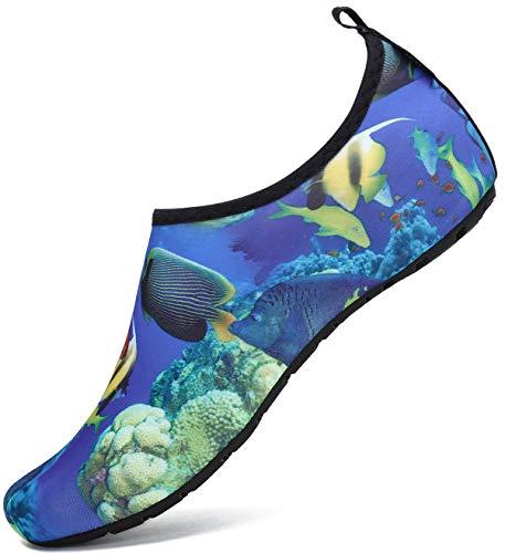 SAGUARO Badeschuhe Herren Wasserschuhe Männer Schwimmschuhe Strandschuhe Mesh Breathable Aquaschuhe Surfschuhe Outdoor Sport Barfussschuhe Mehrfarbig Gr.44/45