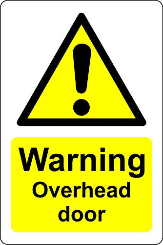 Waarschuwing overhead deur veiligheidsbord - Zelfklevende sticker 200mm x 150mm