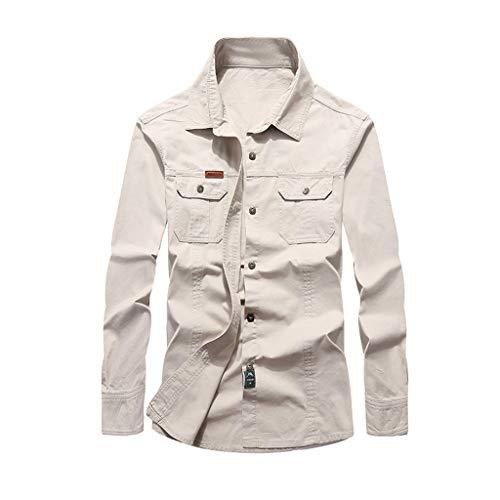 VRTUR Hemdjacke Herren Herbst Winter Jacke Classic Rookie Military Jacket Mantel Work Freizeit Jacke Parka(Weiß,XXL)