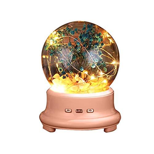 MLZWS Lámpara de Botella LED conservada Flor en cúpula de Vidrio, luz de Noche Altavoz Bluetooth Lámpara de música Luz de Noche Altavoz (Color : A)