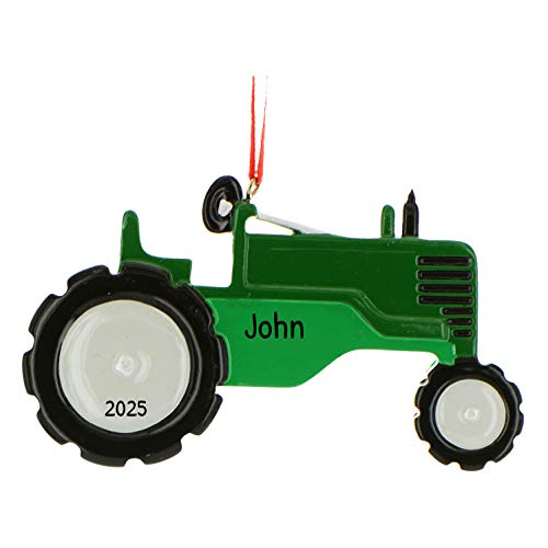 Personalized Tractor Christmas Tree Ornament 2021 - Green Grey Toy Twin Tires Farmer Boy John Machine Field Trailer Harvester Toddler Construction Deer-e Holiday Year - Free Customization