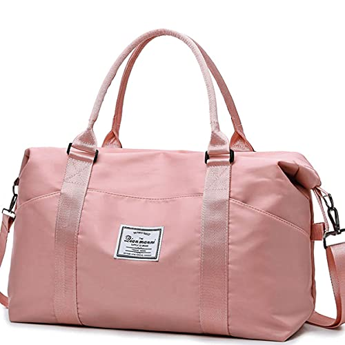 Travel Bag for Women Weekend Bag Large Overnight Bags with Luggage Sleeve & Wet Pocket, Duffel Tote Gym Bag, Travel Duffel Bags, Carry on Hospital Bag, Luggage Bags, Pink & Waterproof Lightweight Bags