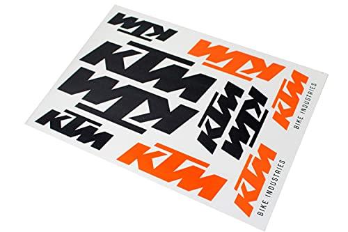 10 Aufkleber KTM Bike Industries Logo auf Bogen 17,2 x 24,8cm, Farbe Orange/Schwarz, Fahrrad, E-Bike