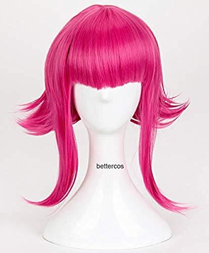LOL Annie Hastur Cosplay pelucas 45cm peluca de pelo sinttico resistente al calor rojo rosa + gorro de peluca
