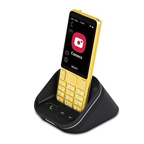 Cell Phone for Seniors 4G/LTE Unlocked, Tianhoo 4G Senior Cell Phone Unlocked, Dual Card Dual Standby, Senior Phone Unlocked ATT with Charging Dock Speaker (Yellow)