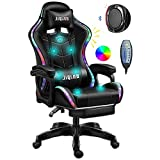 Video Gaming Chairs with LED Light, Ergonomic Pro Gaming Chair with Full Massage Lumbar Support,...