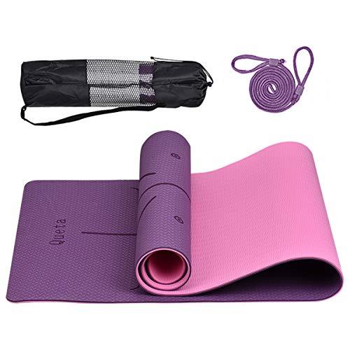 Queta Esterilla Yoga Antideslizante Esterilla Pilates con Línea de Posición, Alfombrilla de Yoga TPE Insípido para Entrenamiento físico con Correa y Bolsa, 183cm x 61cm x 6mm