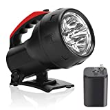 High Powered LED Hand-Held Flashlight 6V Battery Included, Super Bright Searchlight 600 Lumens Outdoor Work Light with Foldable Bracket, Heavy Duty Waterproof for Camping Boat Marine