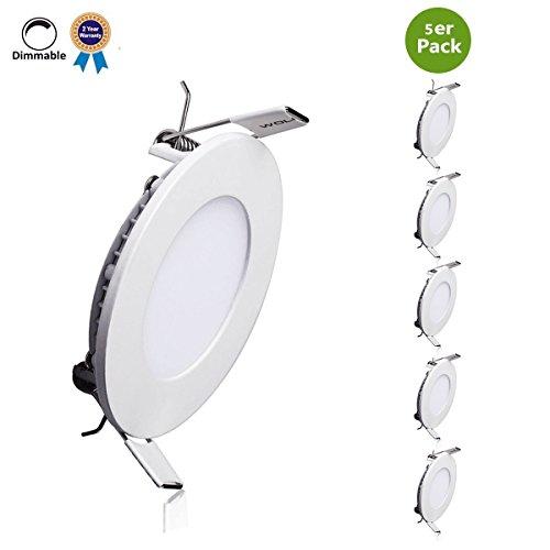 B-right LED Panel 9W Dimmbar LED Panel rund, Led Panel deckenleuchte, Led Panel leuchte, Led Panel Light, 3000K, Warmweiß, 720 Lumen, Led Panel Lamp, Led Einbauleuchten rund, 5er Pack.