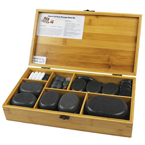 Physique Hot Stone Massage Kit, Hot Stones Set (Box of 60 Volcanic Basalt...