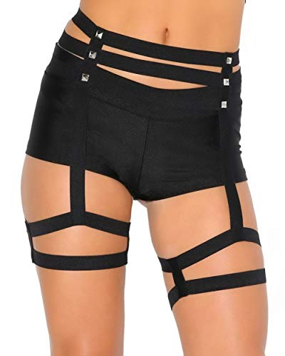 iHeartRaves Black Strappy Leg Garter Studded Belt Body Harness (Large/X-Large)