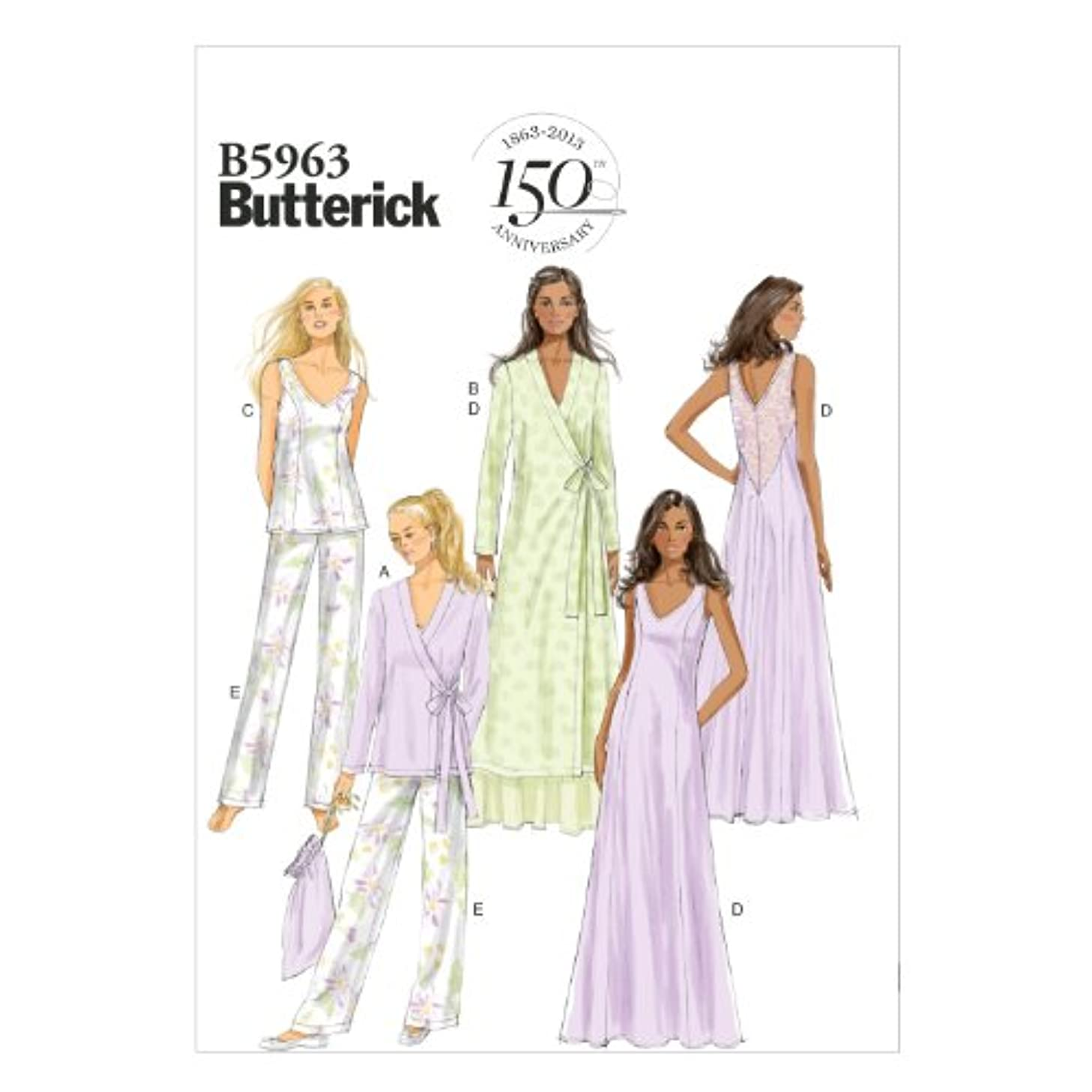 Butterick Patterns B5963 Misses' Robe, Top, Gown, Pants and Bag Sewing Templates, Size E5 (14-16-18-20-22)