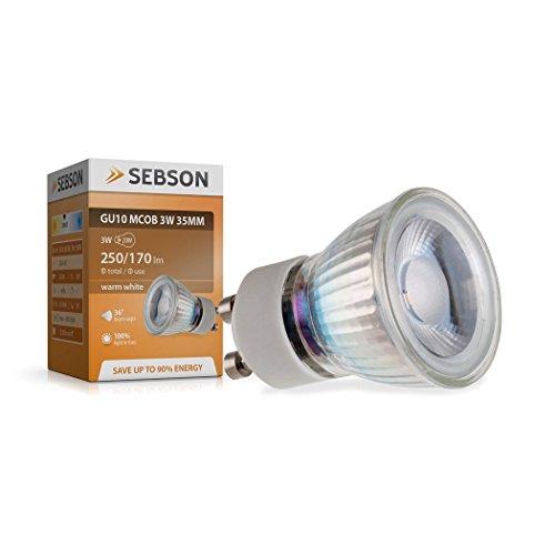SEBSON LED Lampe GU10 warmweiß 3W, ersetzt 20W Halogenlampe, 35mm Durchmesser, 250lm, Spot 36°, 230V
