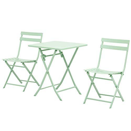 tavolo pieghevole metallo Outsunny Set Tavolo e Sedie da Giardino ed Esterno in Metallo Verde