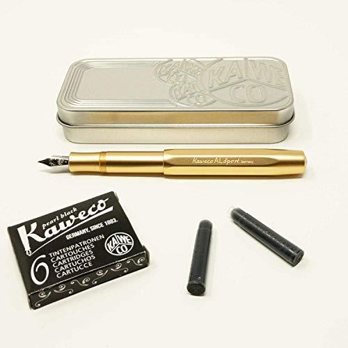 Kaweco Al SPORT Füllfederhalter Gold Edition | Füllhalter achteckig mit Feder M | Kaweco Set mit 6 schwarzen Füller Tintenpatronen GRATIS