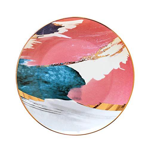 Plato de cerámica de porcelana con incrustaciones doradas, diseño de nubes coloridas, para cena, tarta, aperitivo, postre de 20,32 cm B1