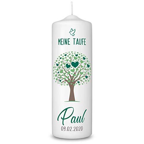 Taufkerze in Weiß personalisiert - 360° Druck mit Namen und Datum - Geschenk zur Taufe - Taufgeschenke für Mädchen und Jungen mit Taufspruch inkl. Aufbewahrungsbox - Lebensbaum Grün