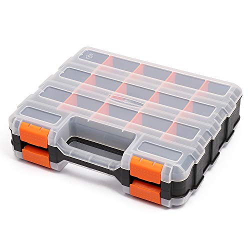 Makitoyo Double Side Tools Organizer, Customizable Removable Plastic Dividers, Hardware Box Storage, Excellent for Screws,Nuts,Small Parts, 34-Compartment, Black/Orange