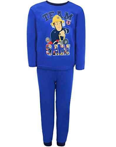 Feuerwehrmann Sam Schlafanzug Jungen Lang Pyjama (Blau, 98-104)