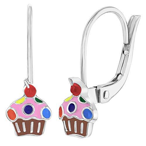 Orecchini in argento Sterling 925cupcake Girls Ciondola Leverback multicolore dello smalto