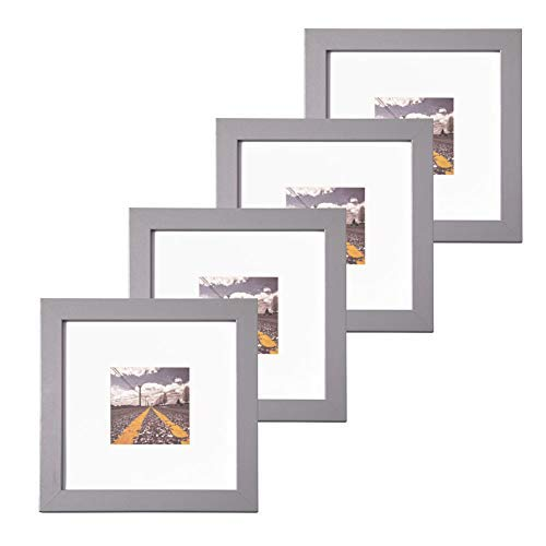 Muzilife 8x8 Wood Picture Frame - Flat Profile - Set of 4 - for Picture 4x4 with Mat or 8x8 Without Mat (Gray)
