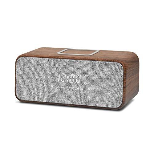 LEMEGA CR6 Radiowecker Digital mit USB-Ladegerät,Bluetooth Lautsprecher, FM Radio,Stereo Sound,QI Kabelloses Laden und dimmbares LED-Display,9 Natürlichen Klängen,Netzbetrieb– Nussbaum