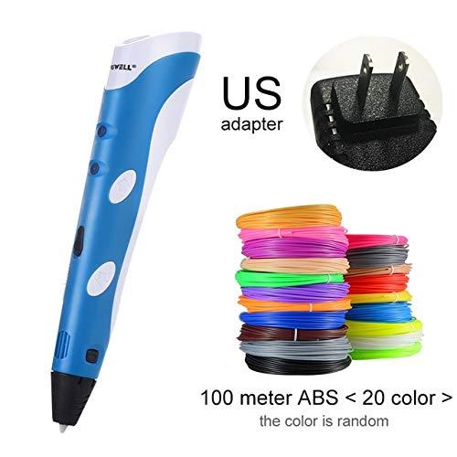 HUAHUA Stift des Druckens 3D 3D Stift Modell 3 D Drucker Zeichnung Magie Druckstifte Mit 100 Mt Kunststoff ABS Filament Schulbedarf Für Kind Geburtstagsgeschenke