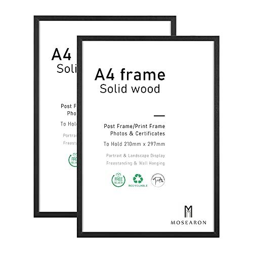 ATOBART Marco de fotos de madera A4, paquete de 2 marcos de fotos de 21 x 30 cm, marco de certificado con cristal para montaje en pared o en la parte superior de la mesa, juego de 2