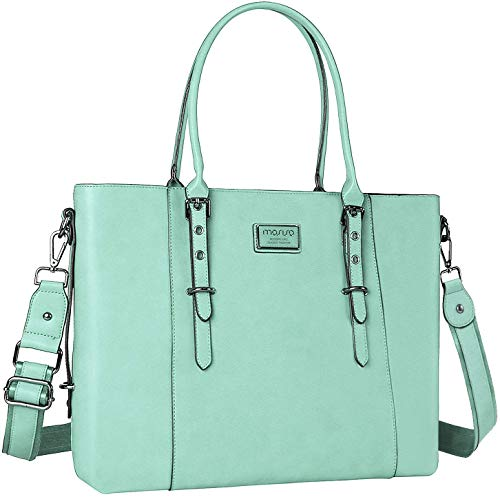 MOSISO PU Leather Laptop Tote Bag for Women (Up to 17.3 inch), Mint Green