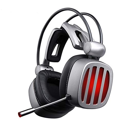 WEATLY Gaming 7.1 Casque stéréo Surround Casque Audio avec Microphone LED Lumière for Ordinateur Gamer USB Gaming Headset (Color : Silver)