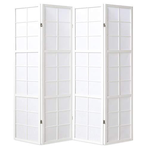 Homestyle4u 438, Paravent Raumteiler 4 teilig, Holz Weiss, Reispapier Weiß, Höhe 175 cm
