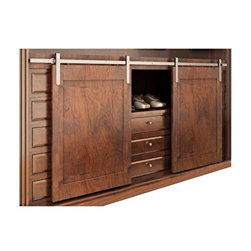 Herraje para Puerta Corredera Kit Mini armario de madera con correa, kit de herrajes para rieles de puerta de granero deslizante doble, riel silencioso de acero inoxidable, se puede colgar 2 puertas