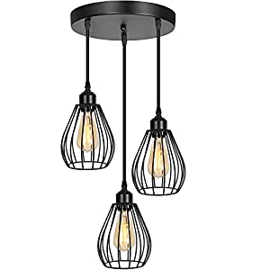 Industrial Pendant Lighting, 3-Light Hanging Light Fixture with Metal Cage, Adjustable Farmhouse Ceiling Light E26 Base Black Cluster Pendant Light for Kitchen Island, Dining Room Bedroom or Entryway