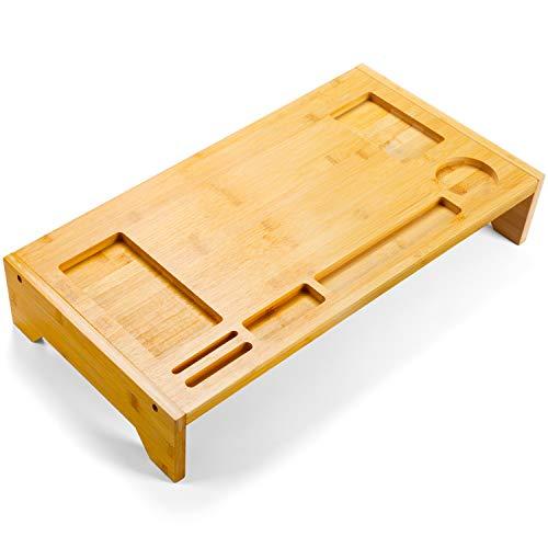 Soporte de Monitor Bamboo Amada con Ranuras para Teléfono y Muescas de Lápiz para Ordenador de Oficina y Casa, Computadora Portátil, Televisor, Tableta, Impresora (Amarillo)