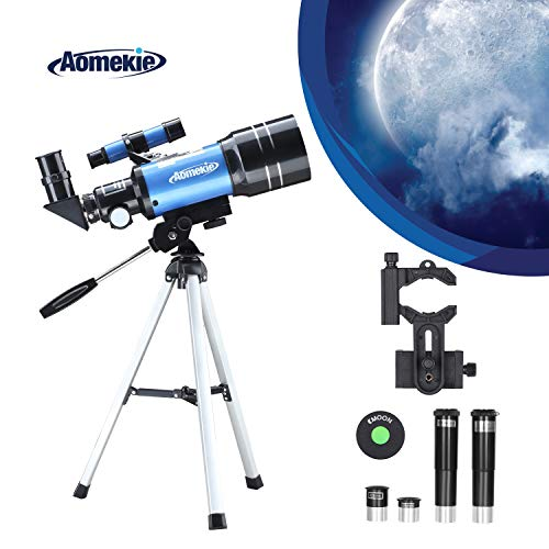 AOMEKIE 天体望遠鏡 子供 初心者 70mm大口径 日本語説明書付き 150倍 屈折式 スマホ撮影 三脚 プレゼント 1.5倍正像レンズ 3倍バローレンズ ムーンフィルター 付き 星座早見