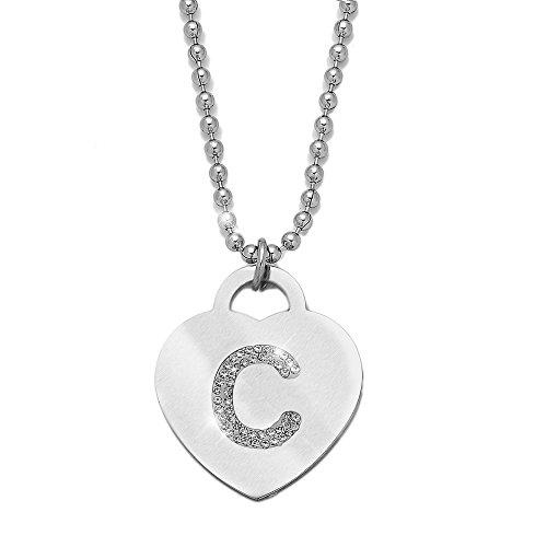 Collana con ciondolo da donna in acciaio con cristalli con lettera iniziale - pendente a forma di cuore con lettera dell'alfabeto - collana con catenina lunga 90 cm - argento e cristalli (C)