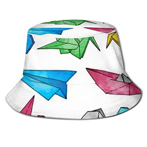 Be-ryl Sun Cap Origami Conjunto de vectores Dibujados a Mano Acuarela Cubo Sombrero para el Sol Protección Packable Summer Fisherman Cap