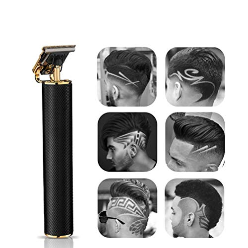 YOUKUKE Electric Pro Li Outliner Grooming Rechargeable Cordless Close Cutting T-Blade Trimmer for Men Baldheaded Hair Clippers Zero Gapped Detail Beard Shaver Barbershop (Black)