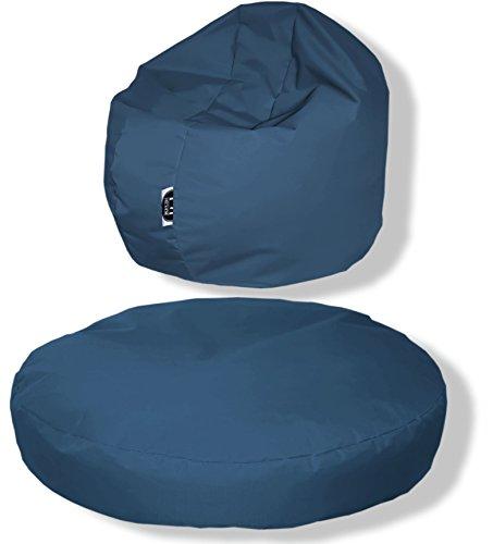Patchhome Coussin Rond 2 en 1 pour l'intérieur et l'extérieur 145 x 20 cm Couleurs :, Gris-Bleu, 145x20cm