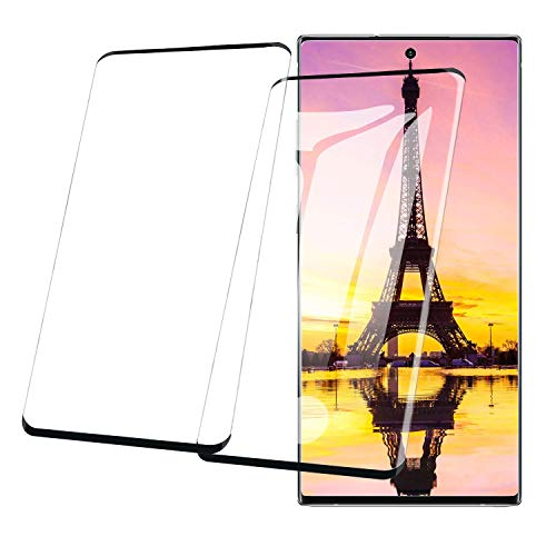 [2 Pack] for Galaxy Note 10 Plus Screen Protector,3D CurvedAnti-Fingerprint 3D Curved TemperedBubble-Free Glass Full Coverage 9H Hardness Compatible Samsung Galaxy Note 10 Plus Galaxy Note 9