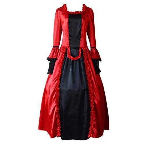 Weant Mittelalter Kleidung Damen, Frauen Vintage Party Ballkleid mit Trompetenärmel Gothic Kleidung Blumenmuster Ballkleider Kleider Tanzkleider Karneval Kleid Mittelalter Party Kostüm Maxikleid