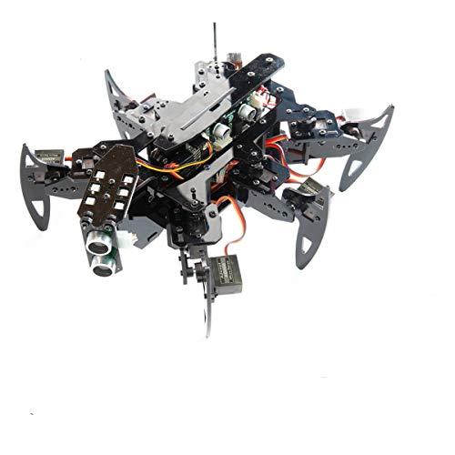 Hexapod Spider Robot Kit Compatibile con Arduino Android App e Python GUI, Spider Walking Crawling Robot, Auto-stabilizzante basato sul sensore giroscopio MPU6050, Steam Robotics Kit con Manuale PDF