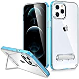 Saputu Compatible with iPhone 12 Pro Max Case, Clear Back Soft Airbag Anti Scratch Anti Drop Shock Absorption Protection Case with Kickstand (Blue)