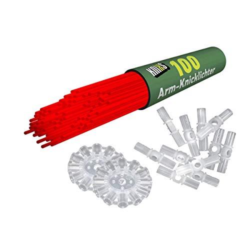 Preisvergleich Produktbild KNIXS 100x Arm-Knicklichter in rot inkl. 100 x 3D-Verbinder und je 2 x Ballverbinder und 7-Lochverbinder für Party,  Festival,  Geburtstag oder als Dekoration,  geprüfte Markenqualität