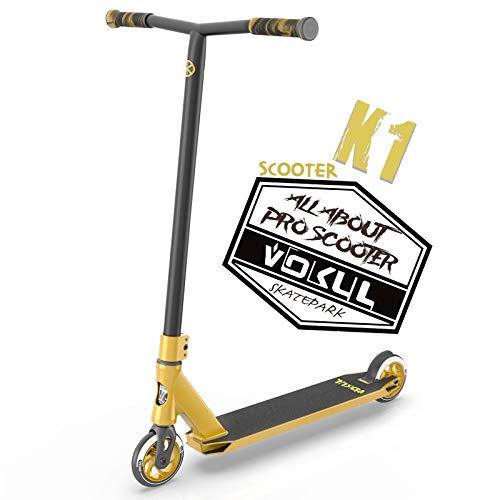 VOKUL BIZT K1 Pro Patinete - Acrobacia Patinete de Trucos y Saltos para Niños/Adolescentes a Partir de 8 Años, Patinetes Freestyle Stunt Scooter con Ruedas de Aleación de 110MM (Dorado)