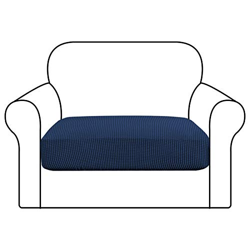 GD-TEX Stretch Couch Cushion Slipcover Sofa Seat Cover Spandex Fabric Furniture Protector with Elastic Bottom Washable (1 Piece Cushion Cover, Navy)