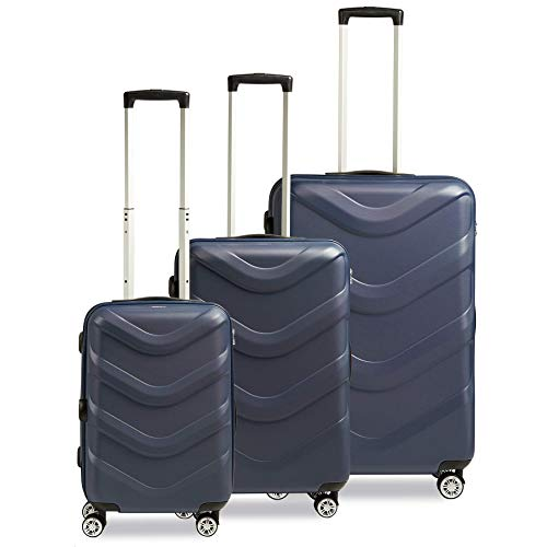 STRATIC Arrow 2 Kofferset 3-teilig Hartschalen Koffer Trolley Rollkoffer Reisekoffer 4 Rollen TSA-Zahlenschloss, Blue