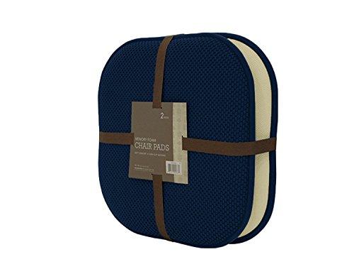 GoodGram 2 Pack Non Slip Ultra Soft Chenille Premium Comfort Memory Foam Chair Pads/Cushions - Assorted Colors (Navy)