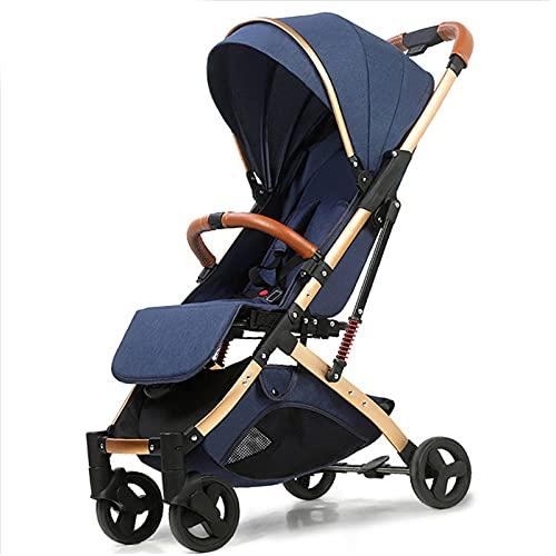 LLF Sillas de Paseo, 2 En 1 Cochecito Liviano para Bebés, Cochecito Plegable del Carro Portátil, Cochecito Ultraligero, Mango De Tirón De Mano (0-36 Meses)(Color:Azul)