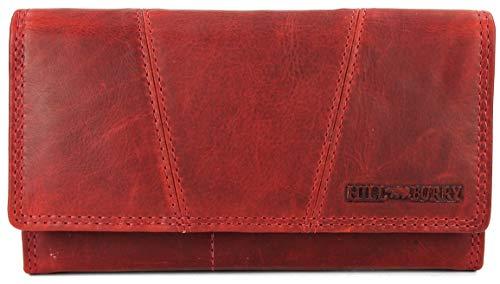 Hill Burry Vintage Leder Damen Geldbörse Portemonnaie Geldbeutel Portmonee aus weichem Leder in rot - 17,5x10x3cm (B x H x T)